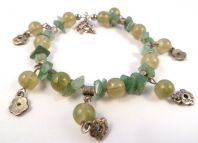 Aventurine And Green Bead Flower Drop Bracelet.